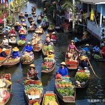 水上マーケットと線路市場観光