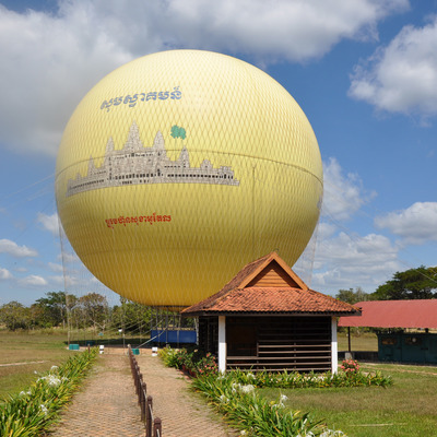 気球からアンコールワット鑑賞の写真
