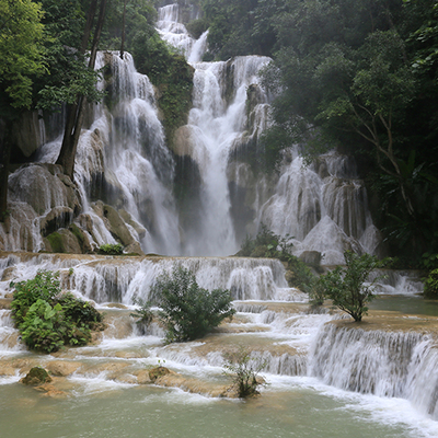 クアンシー滝と象乗り体験とモン族の村の写真