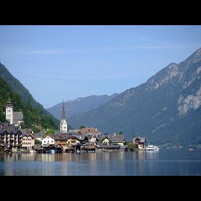 世界遺産ハルシュタットと絶景の展望台スカ...の写真