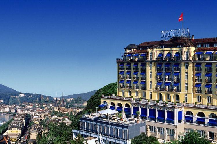 ルツェルンを散策 絶景ホテルでのティータ...の写真