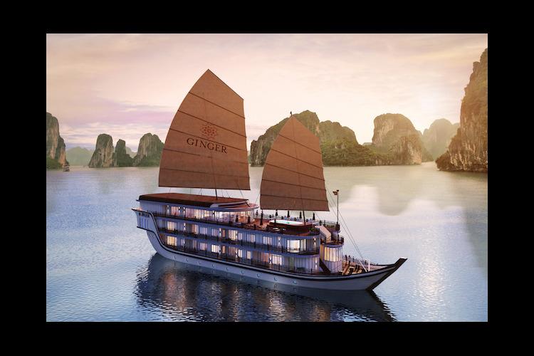 最新ベトナム伝統ジャンク船 ハロン湾ボー...の写真