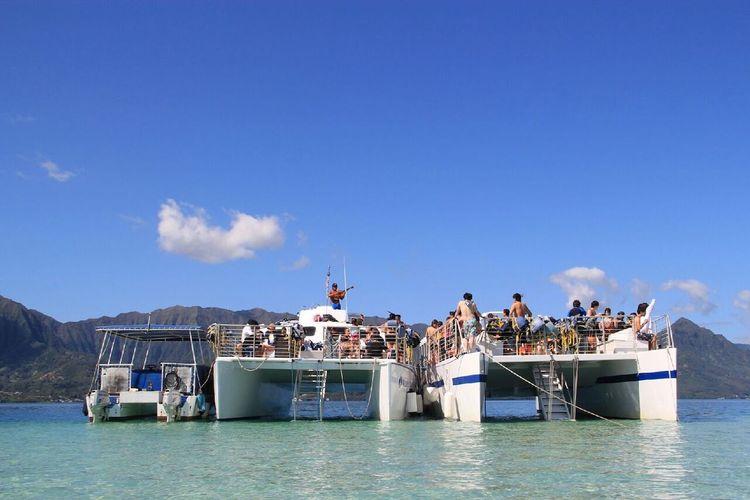 天使の海 カネオヘ湾 サンドバーで船上B...の写真