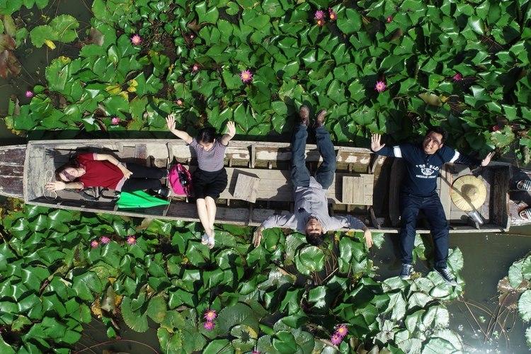 インスタ映えも抜群。蓮花の池でボート遊覧の写真