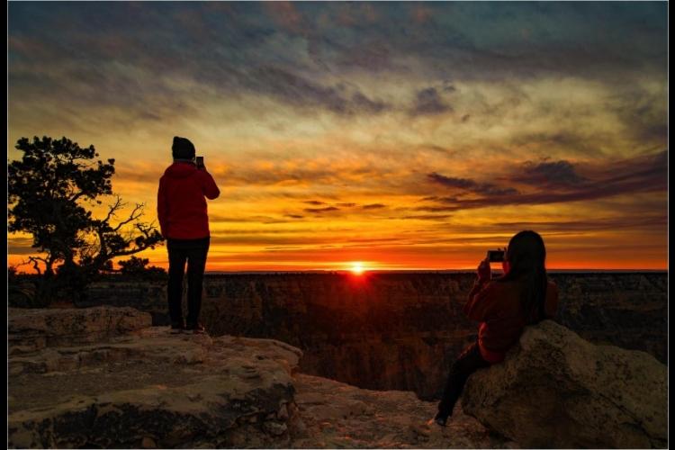 世界遺産グランドキャニオン国立公園 夕日...の写真
